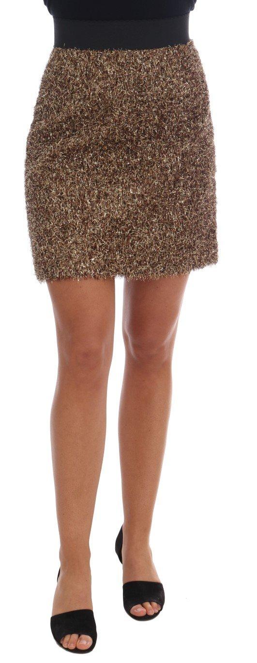Dolce & Gabbana Women's Short Mini Skirt Gold BYX1140 - IT38|XS