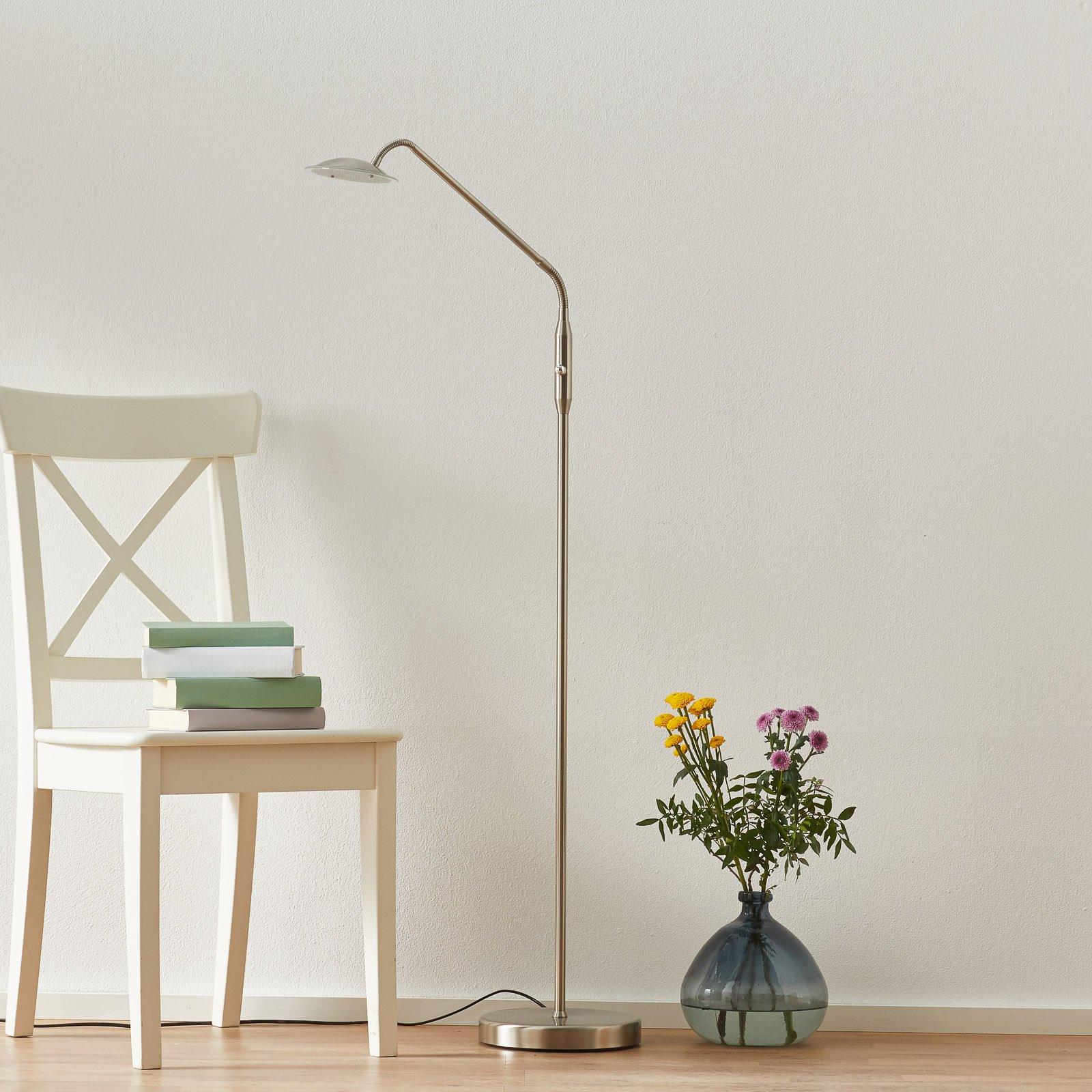 Elegant Twin LED stålampe i nikkel og med ett lys