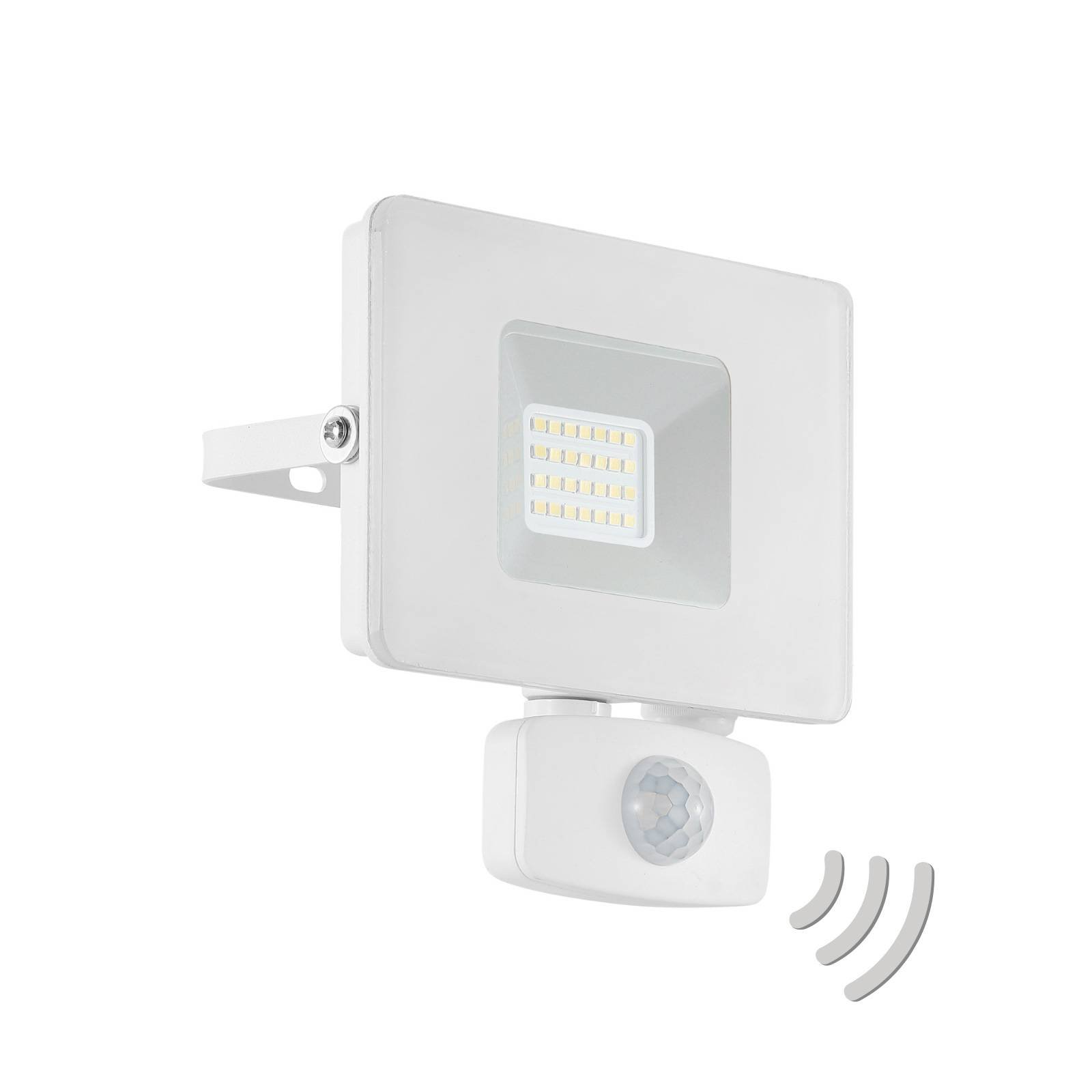 Utendørs LED-spot Faedo 3 med sensor, hvit, 20 W