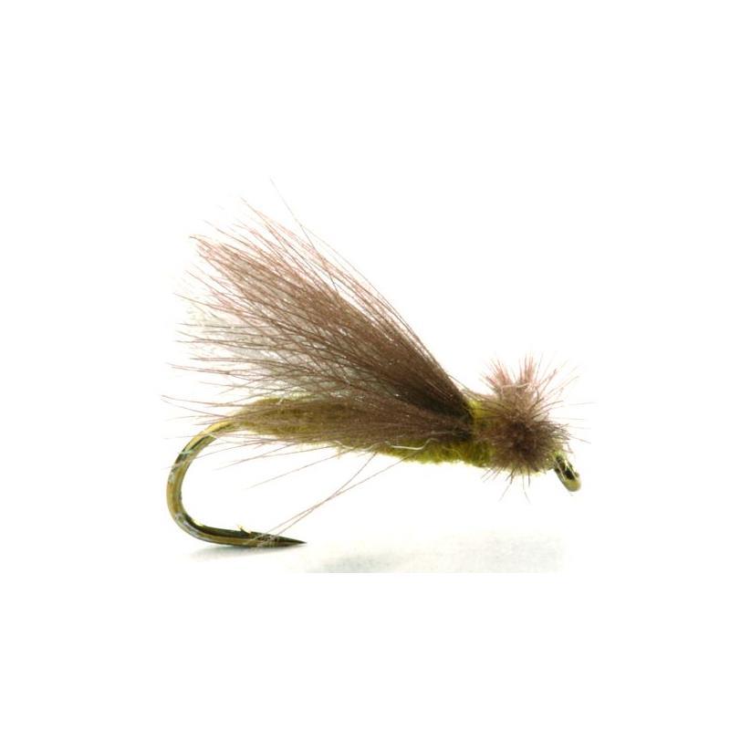 Cdc Caddis Adult Olive #12 Kjøp 12 fluer få gratis flueboks