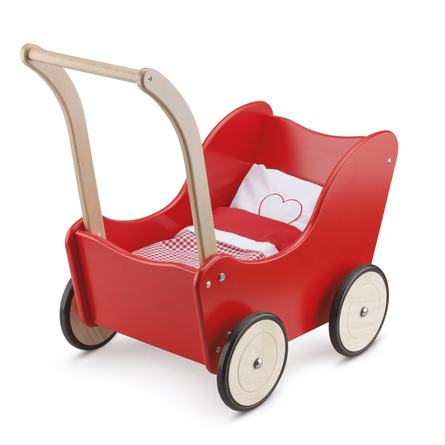 New Classic Toys - Red wooden dollswagon (10750)