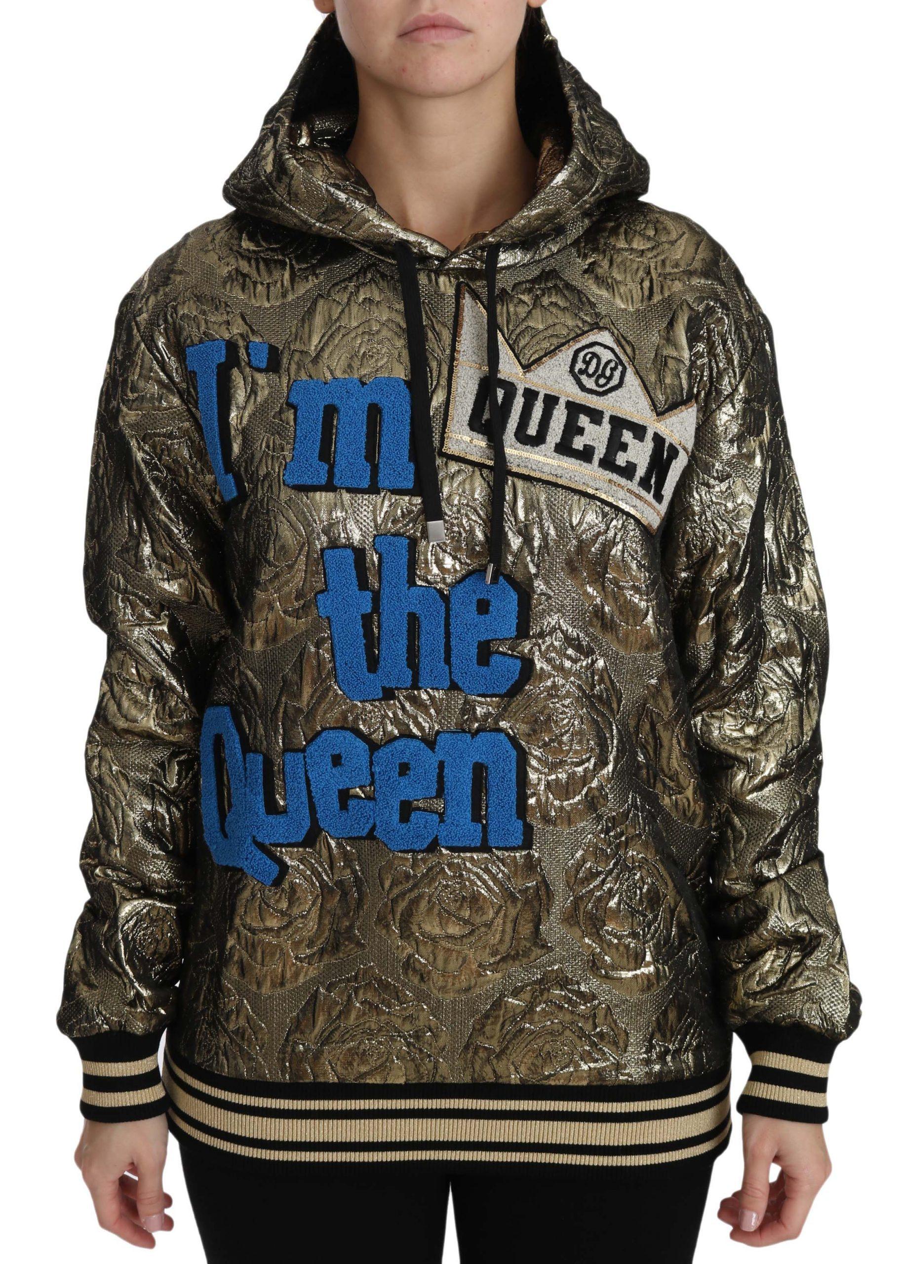 Dolce & Gabbana Women's Im The Queen Jaquard Gold Sweatshirt Multicolor TSH3182 - IT38|XS