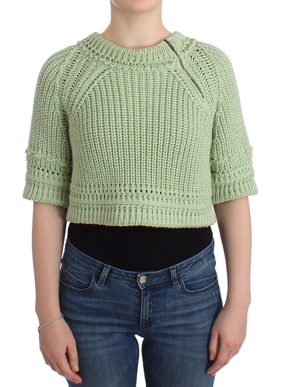Ermanno Scervino Women's Cropped Knit Sweater Green SIG11857 - IT42   S