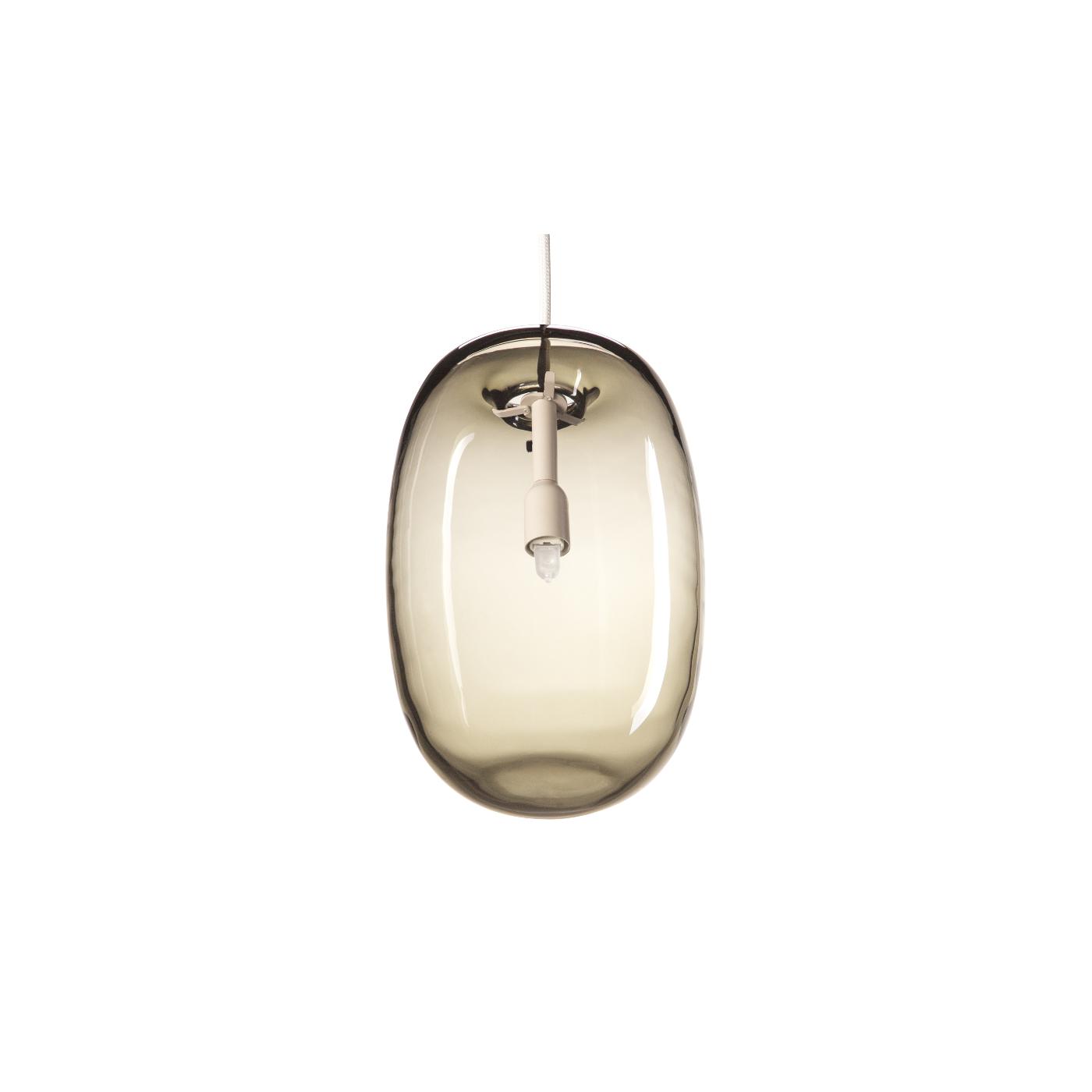 Taklampa PEBBLE Långsträckt varmgrå glas, Örsjö belysning