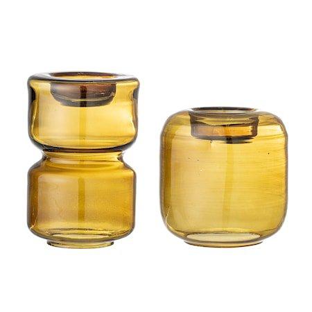 Lou Telysholder Brun Glass sett med 2