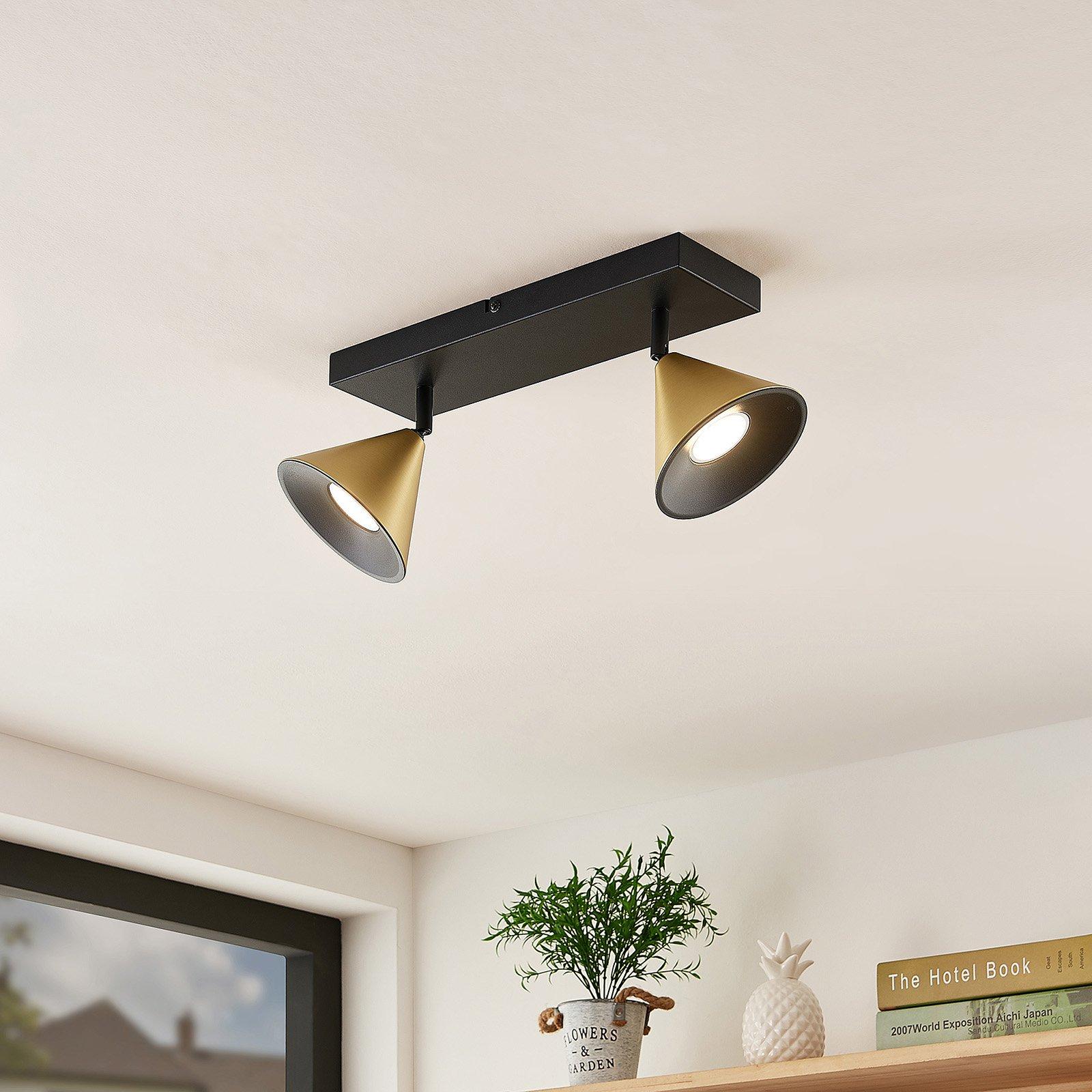 Lucande Kartio taklampe, 2 lys, dreibar, messing