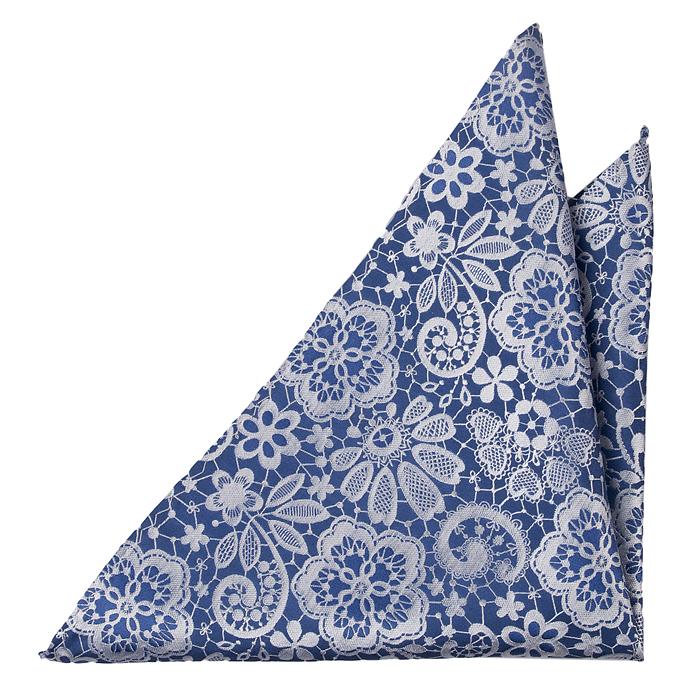 Silke Lommetørkler, Stålblå botten med blommönster i vitt, Blå, Blomster og blad