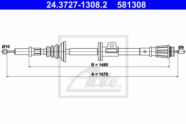 Cable, parking brake ATE 24.3727-1308.2