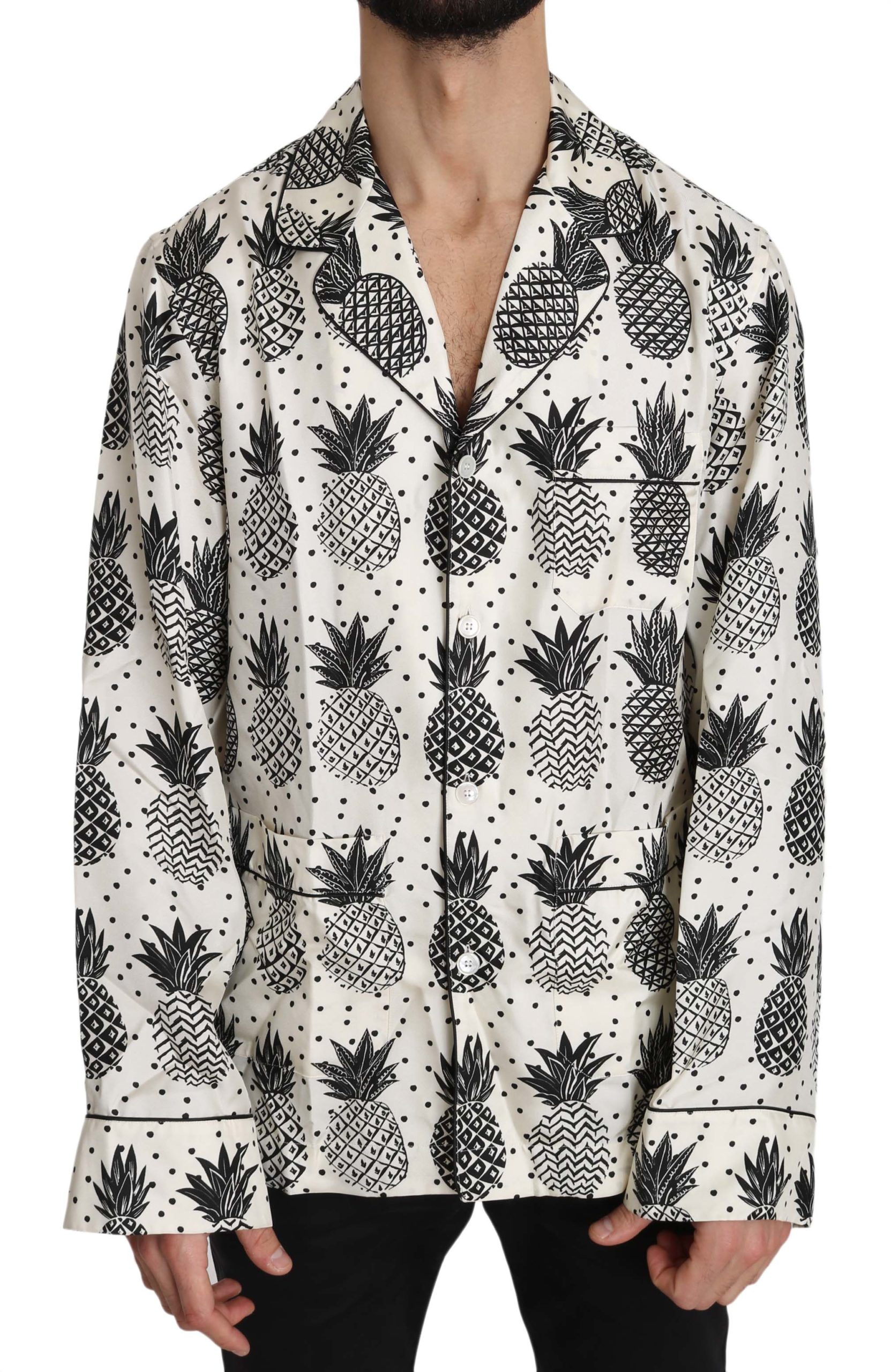 Dolce & Gabbana Men's Pineapple Silk Shirt White TSH3363 - IT38 | XS