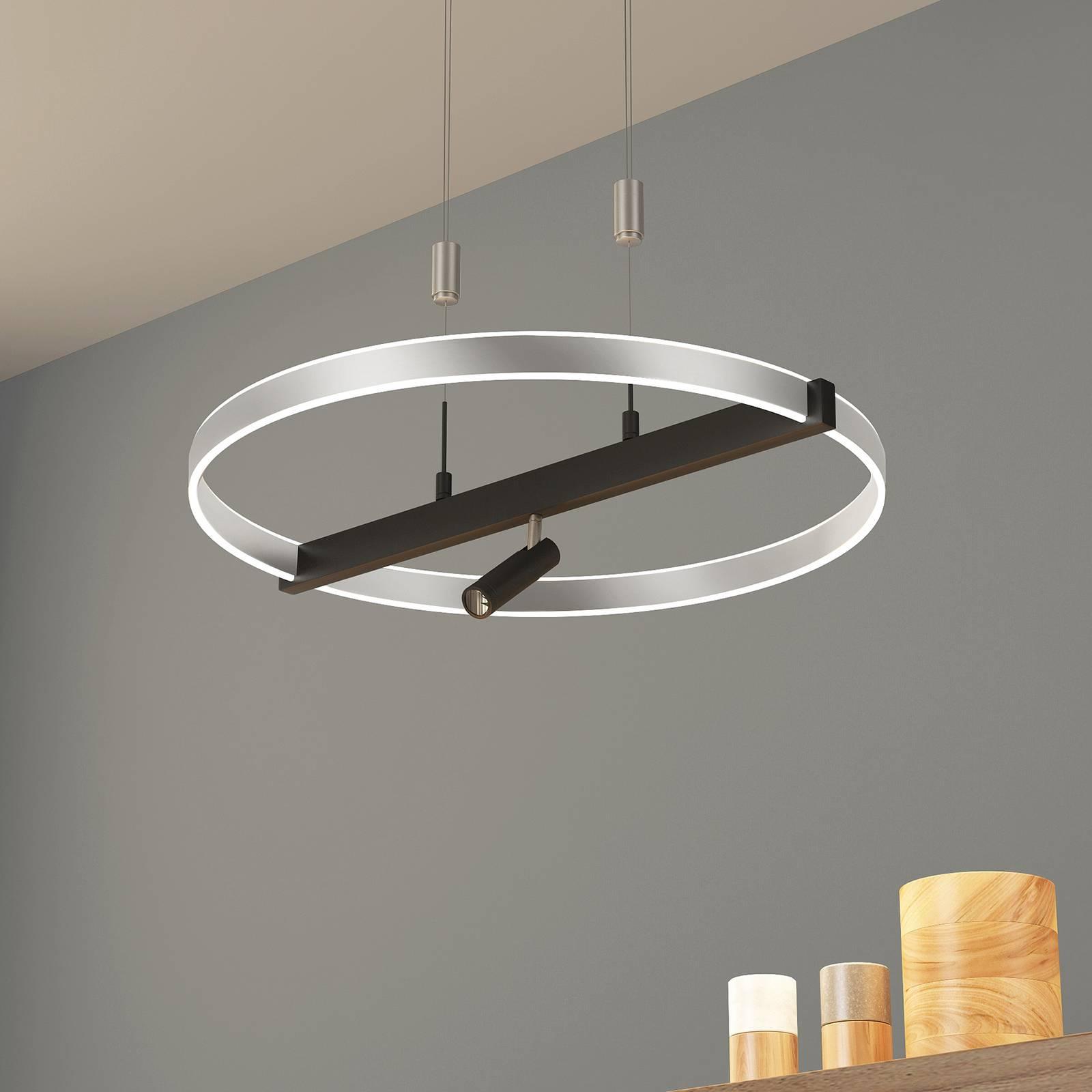 Lucande Matwei -LED-riippuvalo, pyöreä, nikkeli