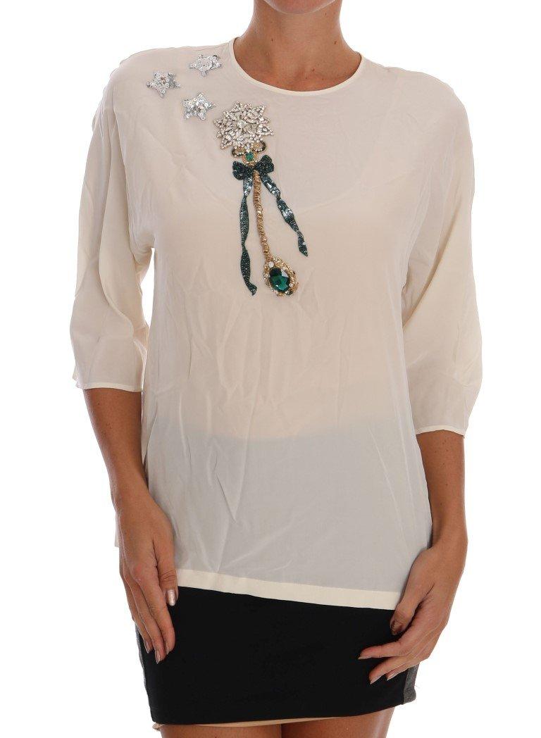 Dolce & Gabbana Women's SICILY Crystal Top White TSH1110 - IT42 M