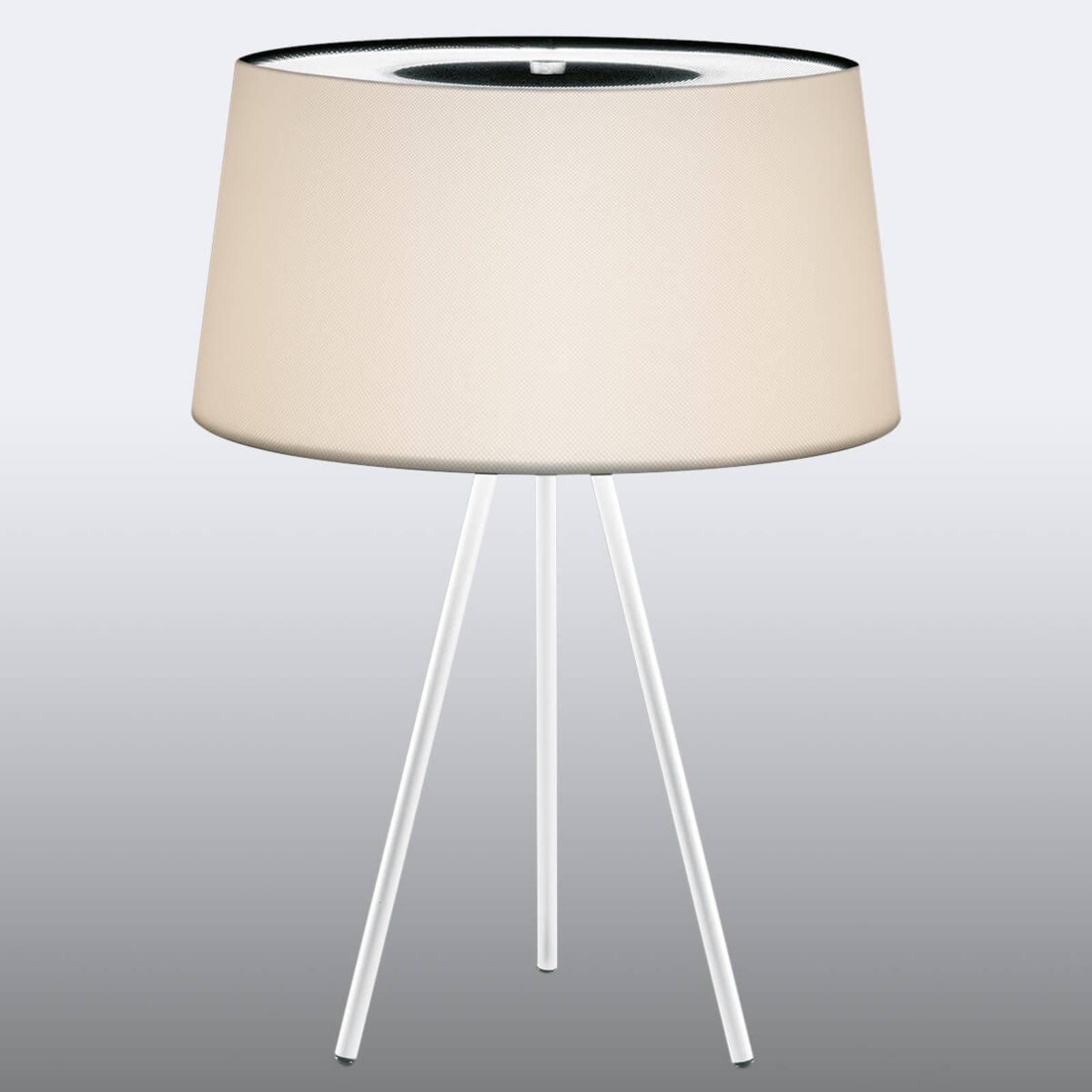 Edel bordlampe Tripod krem/ hvit fot
