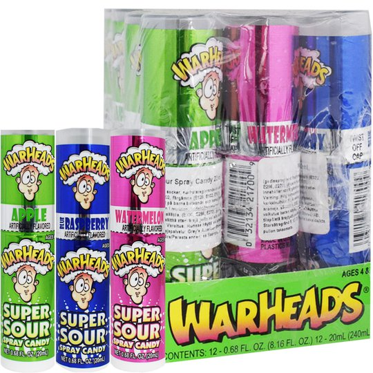 "Hel Låda Godis ""Warheads Super Sour Spray"" 12 x 20ml - 47% rabatt"
