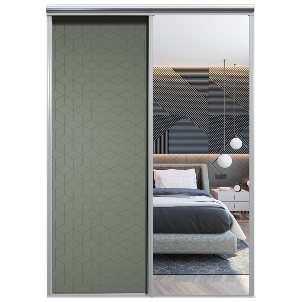 Mix Skyvedør Cube Mosegrønn Sølvspeil 1850 mm 2 dører