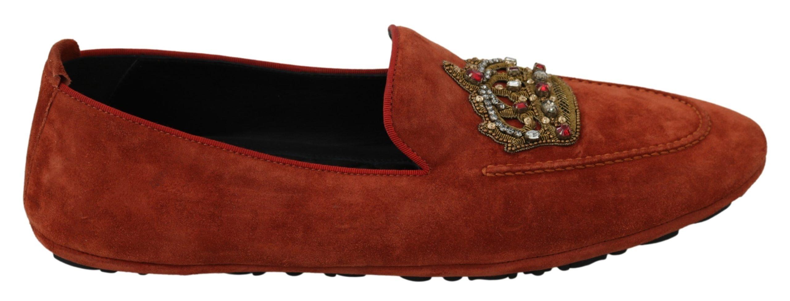 Dolce & Gabbana Men's Leather Crystal Crown Loafer Orange MV2876 - EU44/US11