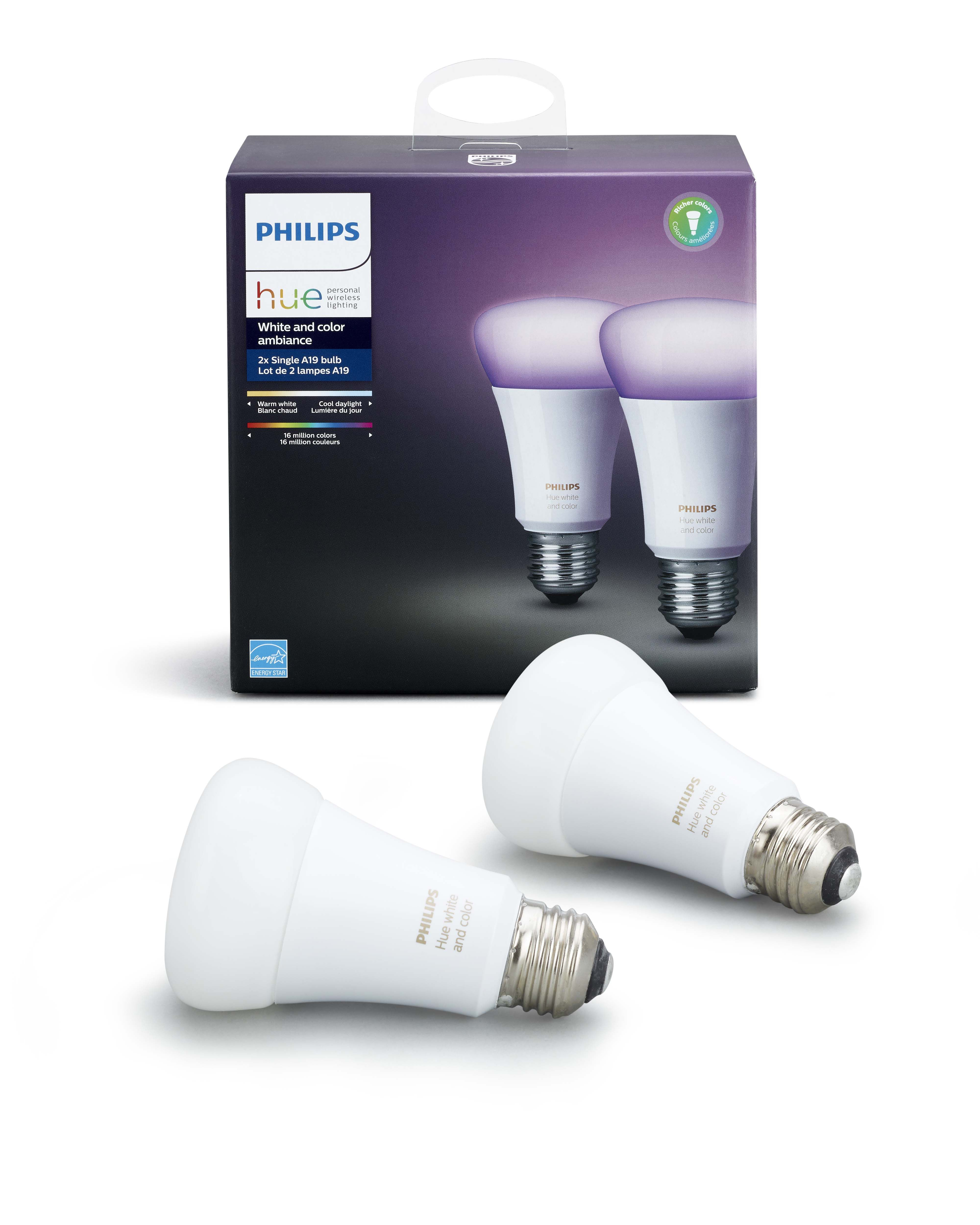 Philips Hue - E27 2 Pack - White & Color Ambiance - Bluetooth