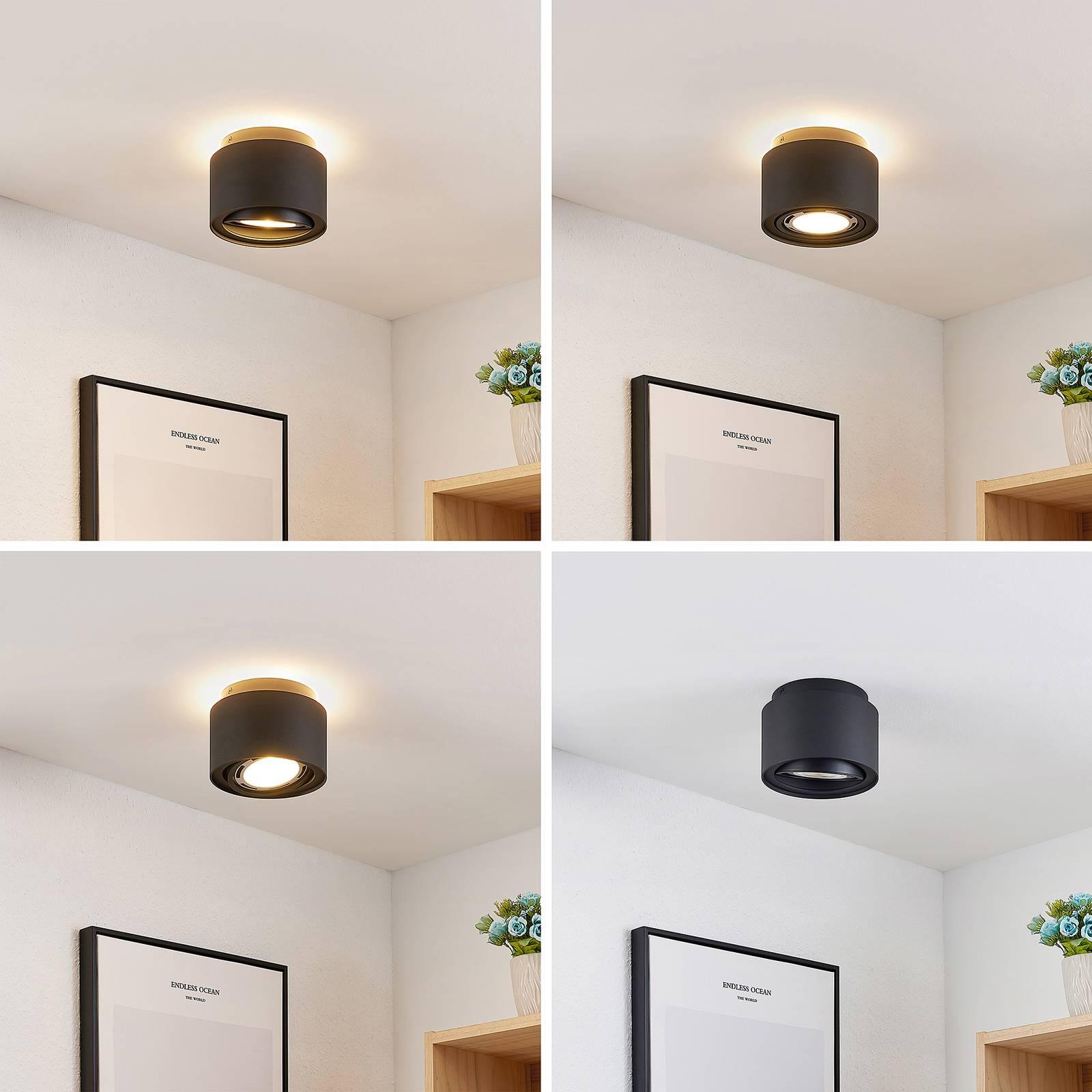 Arcchio Talima -LED-kattovalaisin, pyöreä, musta