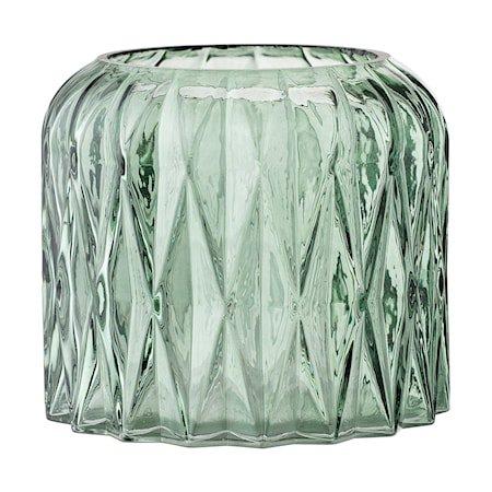 Telysholder Grønn Glass 13x11,5cm