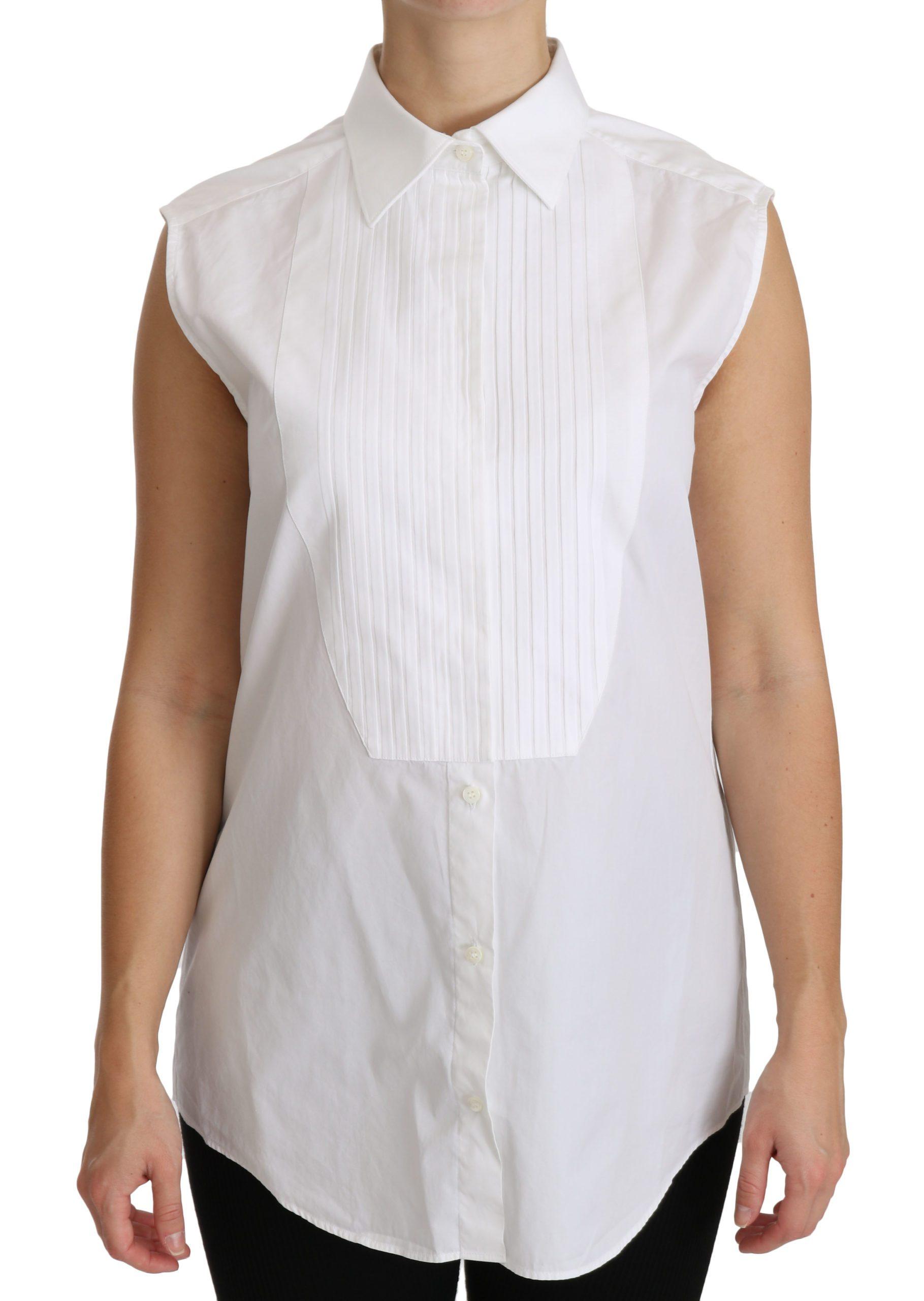 Dolce & Gabbana Women's Collared Sleeveless Polo Shirt White TSH4317 - IT44 L