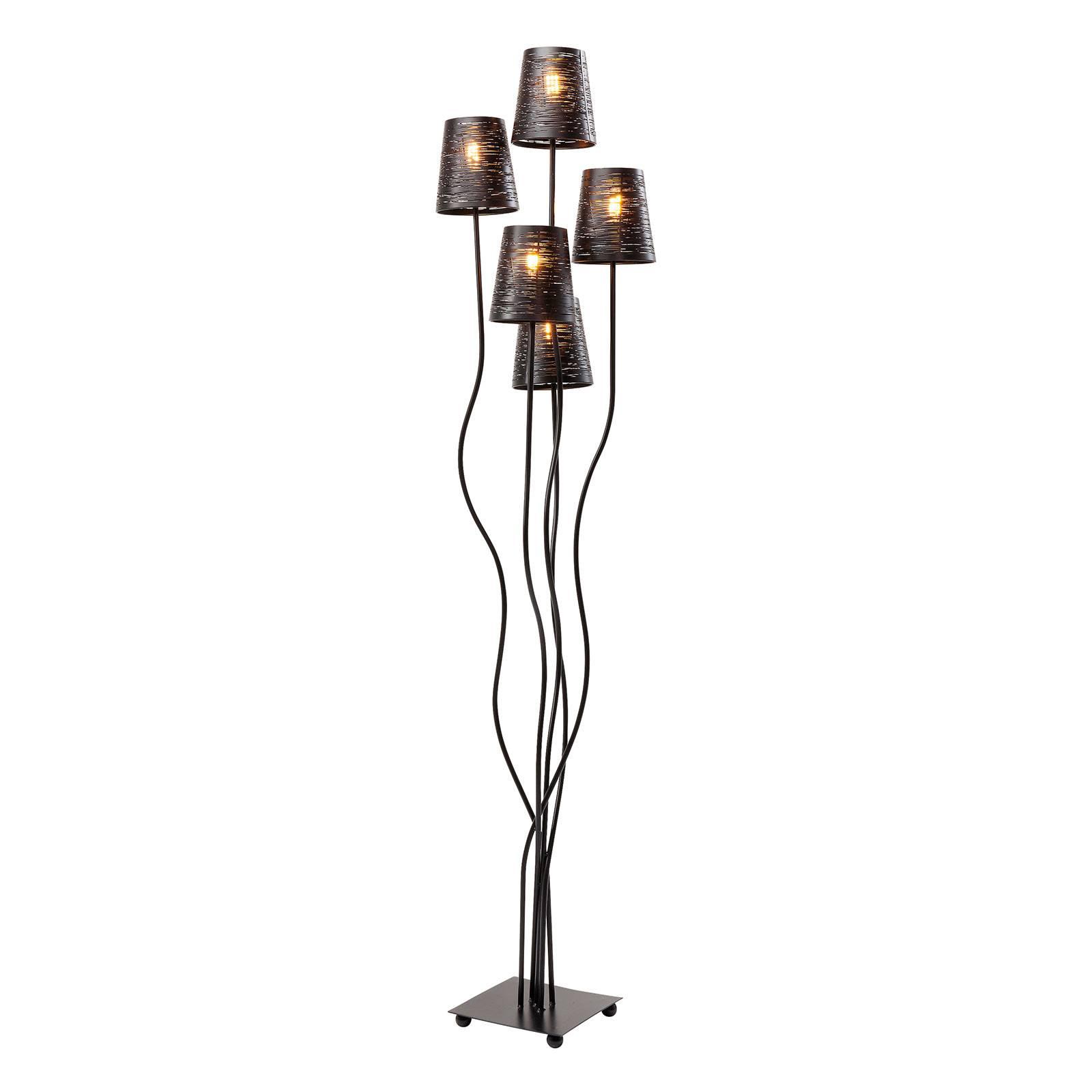 KARE Flexible -lattiavalo, 5-lamppuinen musta