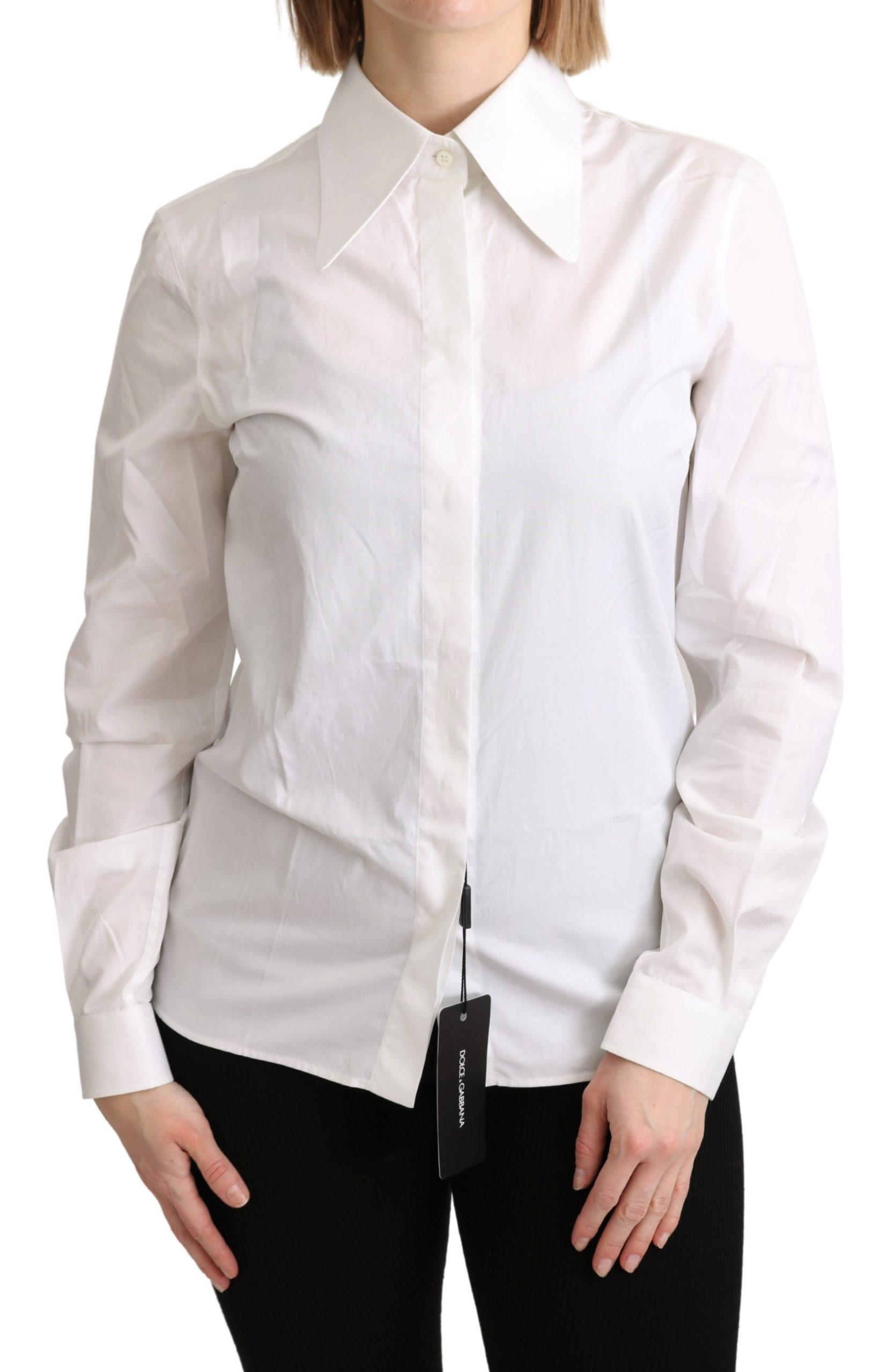 Dolce & Gabbana Women's Collared Formal Dress White TSH5057 - IT40 S