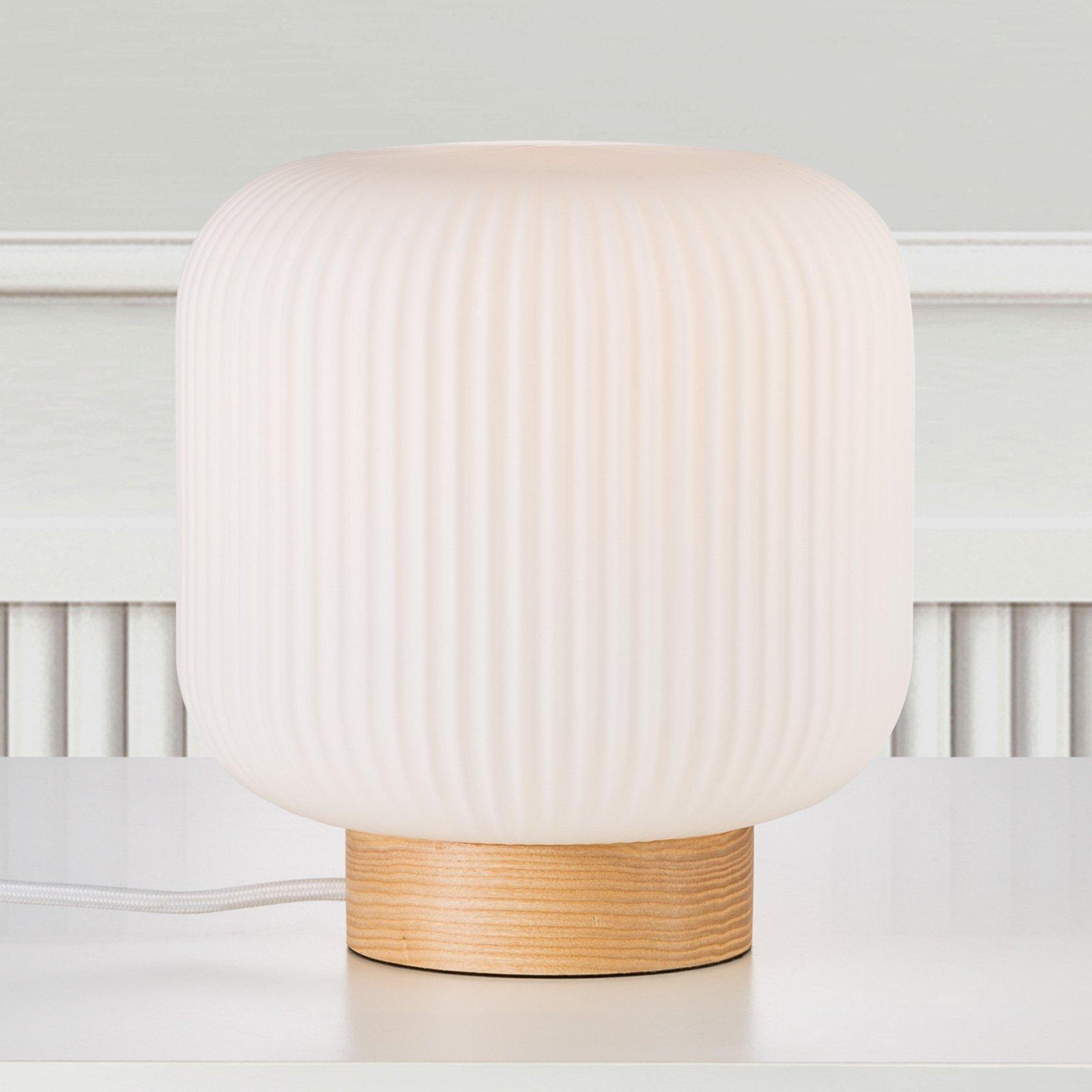Bordlampe Milford med glasskjerm og trefot