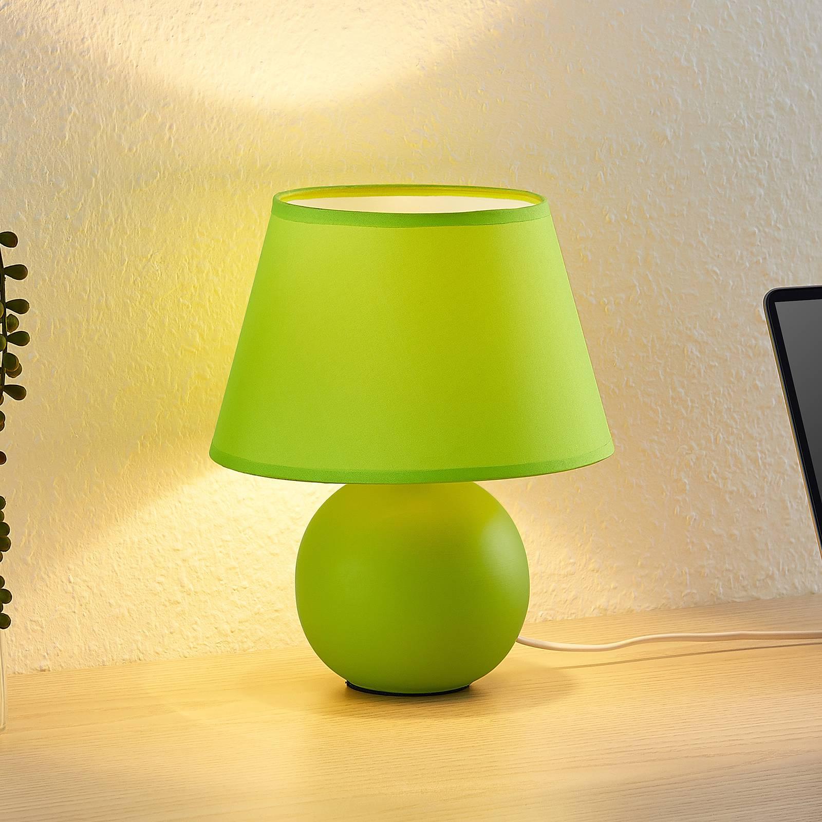Lindby Calliota -pöytävalaisin, pyöreä, vihreä