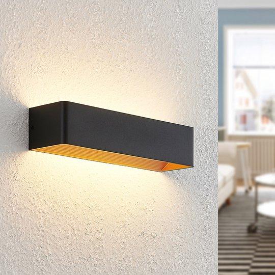 Arcchio Karam LED-vegglampe, 36,5 cm, svart