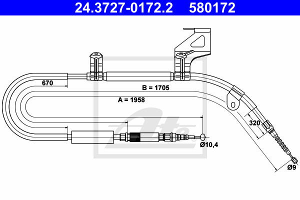 Käsijarruvaijeri ATE 24.3727-0172.2