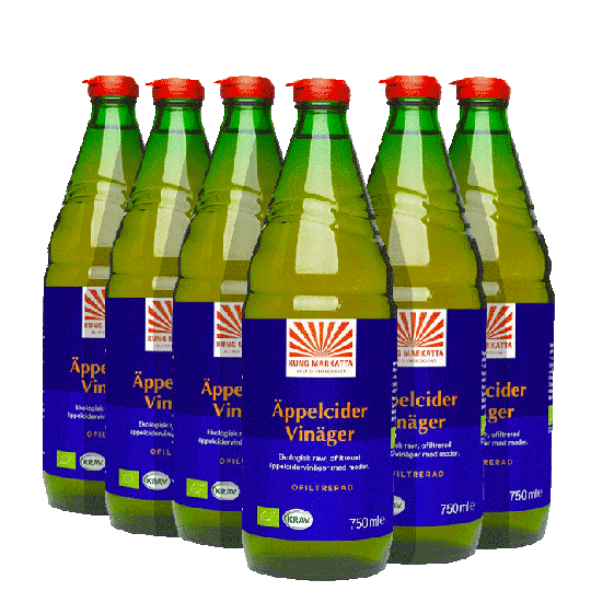 6 x Äppelcidervinäger Ofiltrerad KRAV, 750 ml