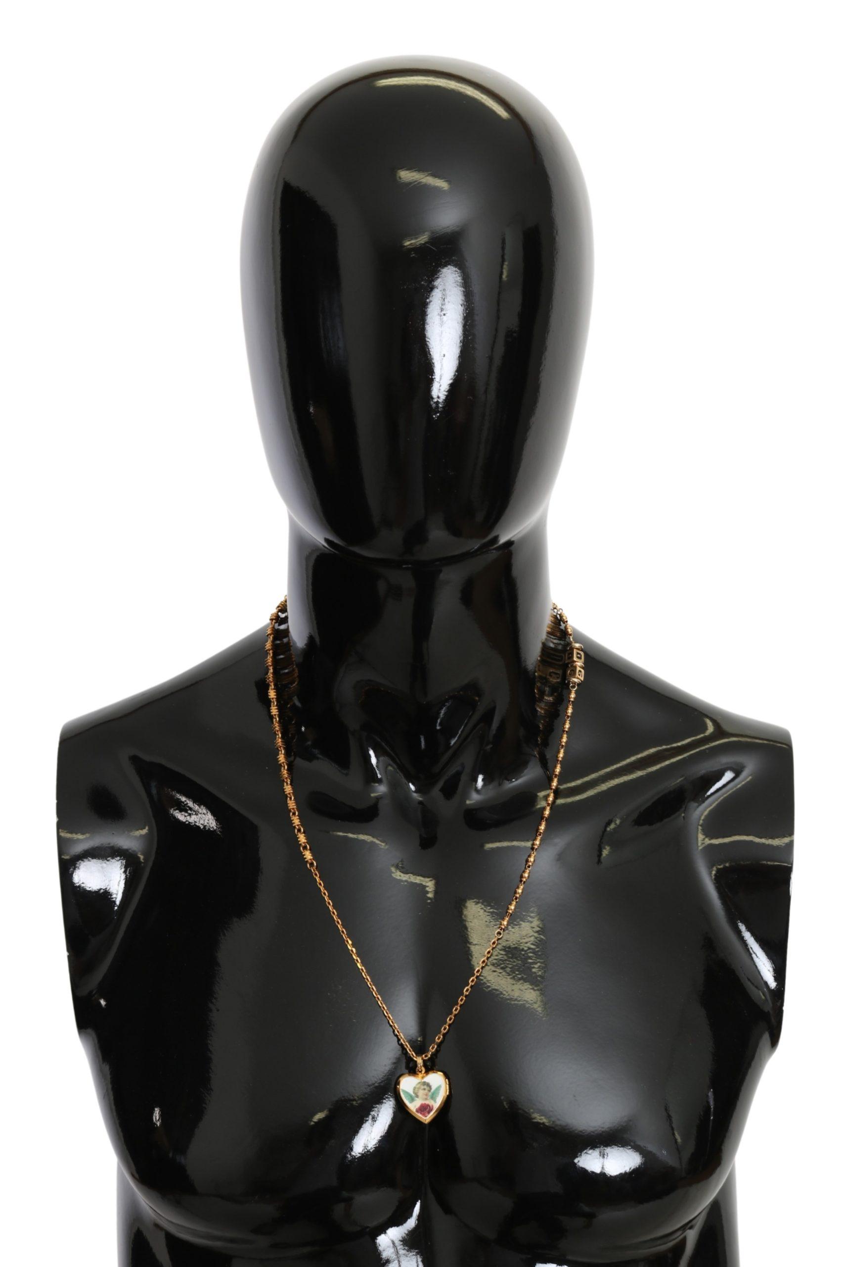 Dolce & Gabbana Women's Brass Chain Angel Heart Necklace Gold SMY100312
