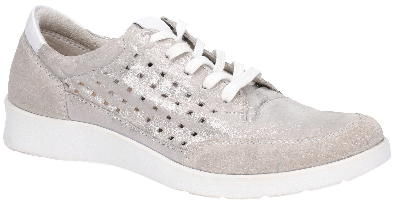Hush Puppies Women's Molly Lace Up Shoe Various Colours 28408 - Silver 3