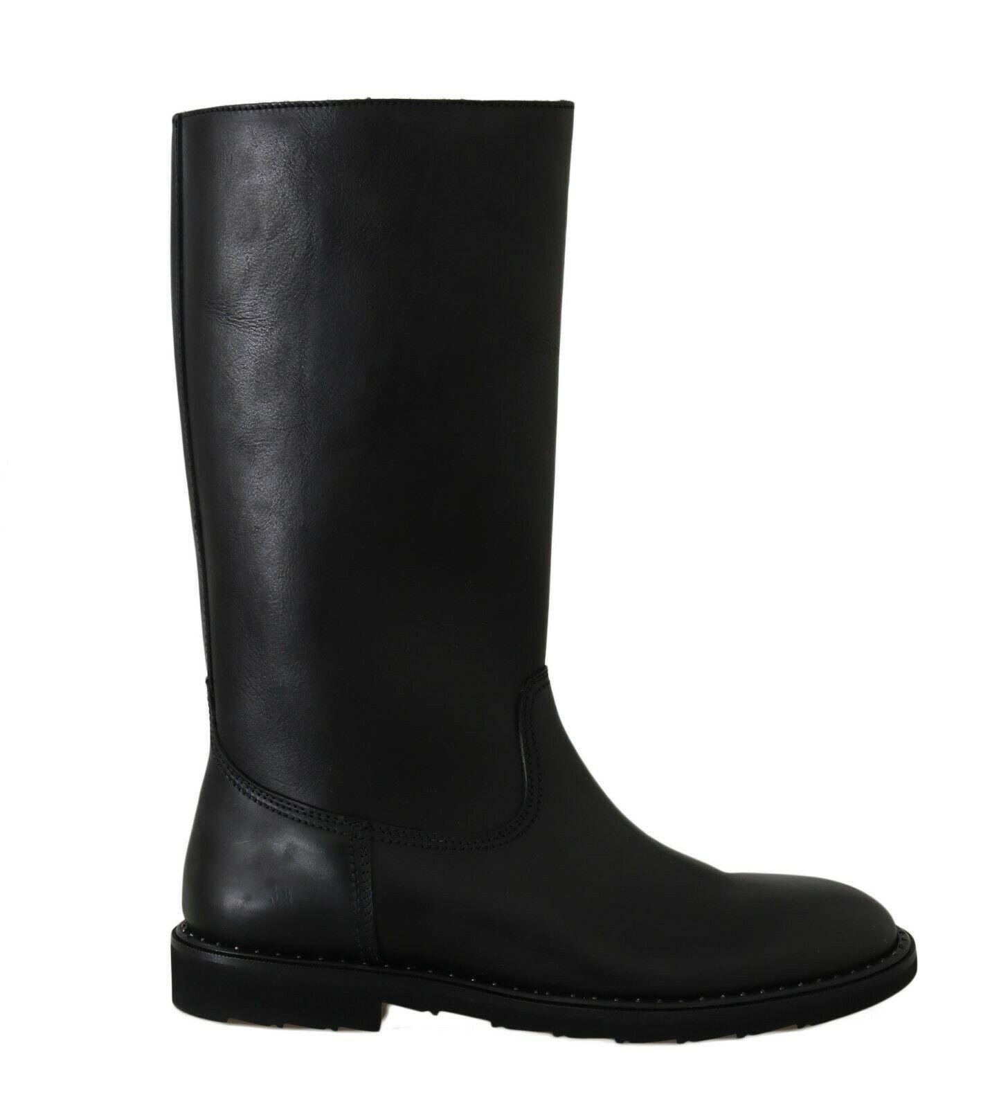 Dolce & Gabbana Men's Leather Knee High Winter Boots Black MV2193 - EU44/US11