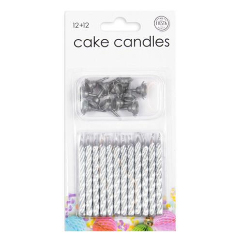 Tårtljus med Hållare Silver - 12-pack