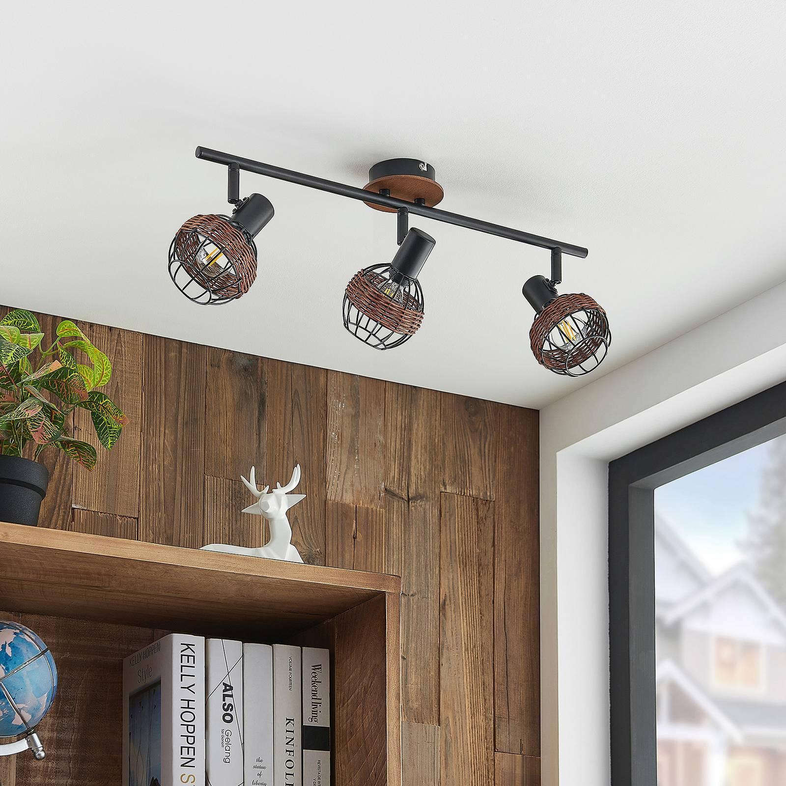 Lindby Nermina -kohdevalo, rottinkia, 3-lamppuinen