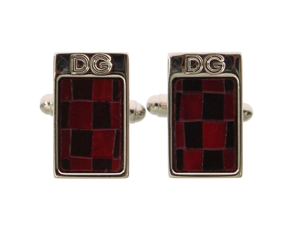 Dolce & Gabbana Men's Brass Stone Cufflinks Silver SIG31512