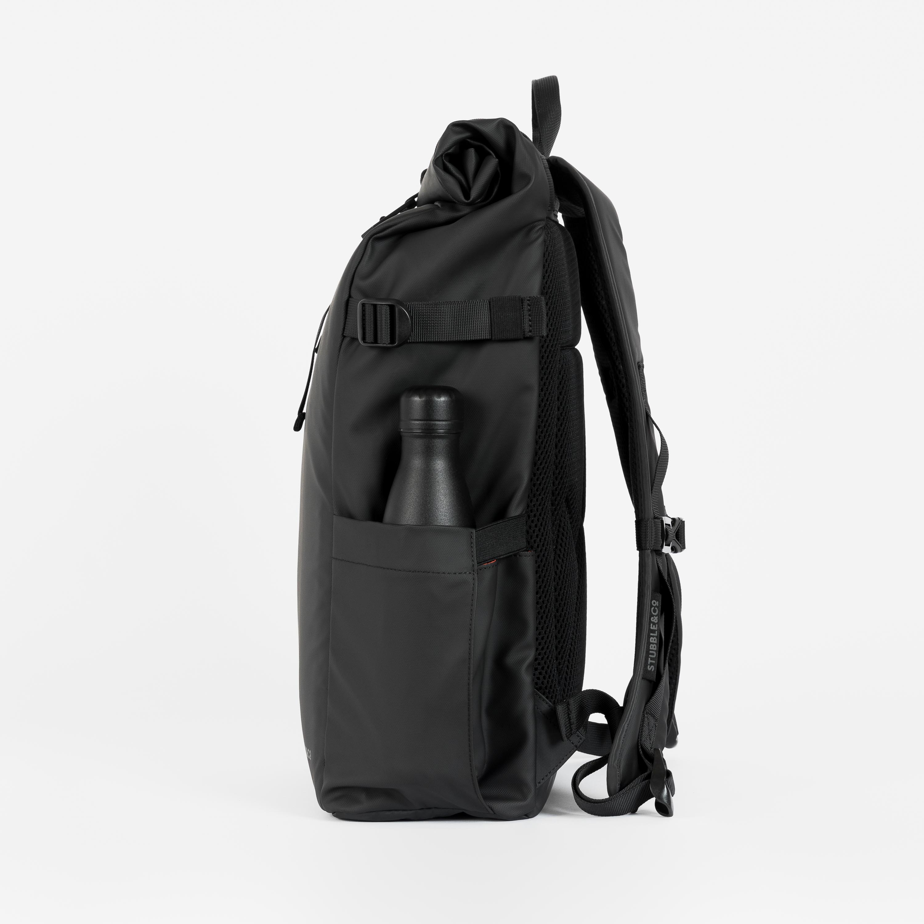 """The Roll Top. Made From Recycled Plastic. 16"""" Laptop Pocket., All Black"""