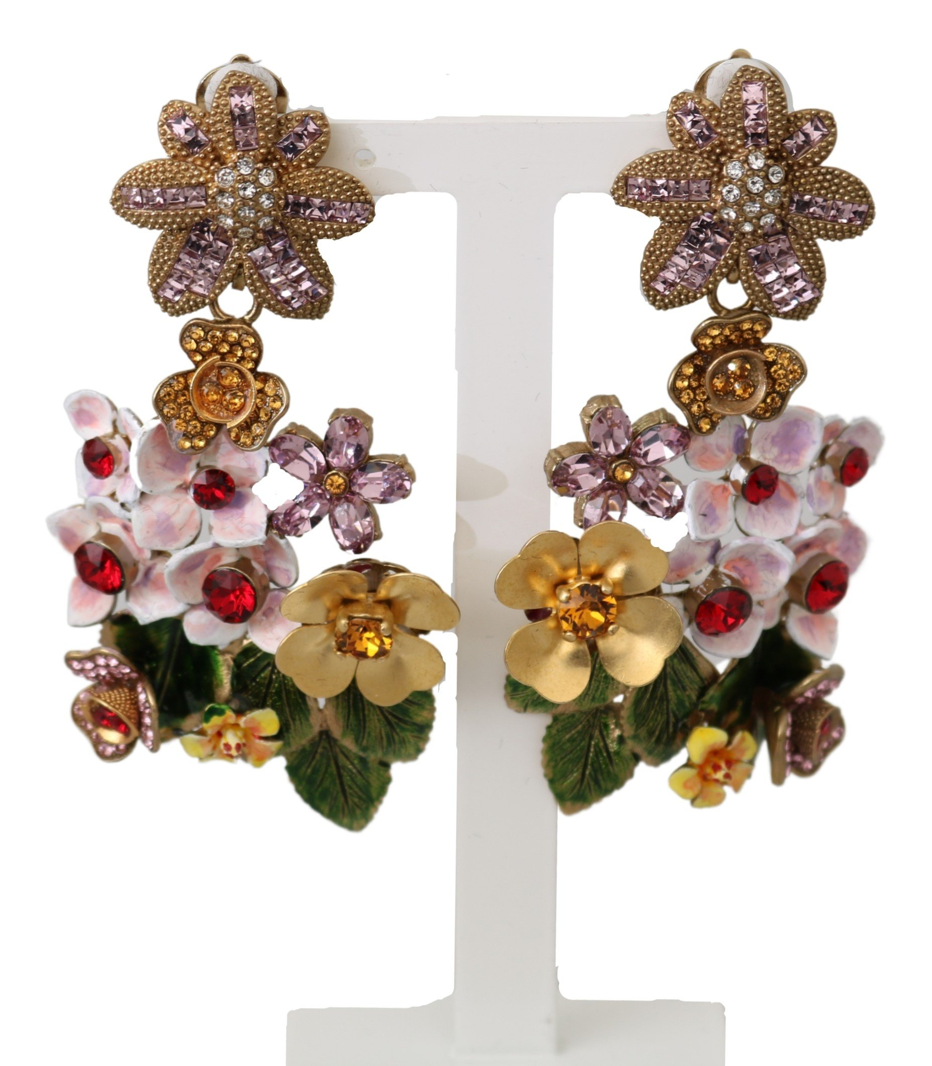 Dolce & Gabbana Women's Crystal Floral Filigree Clip-on Earrings Gold SMY10091
