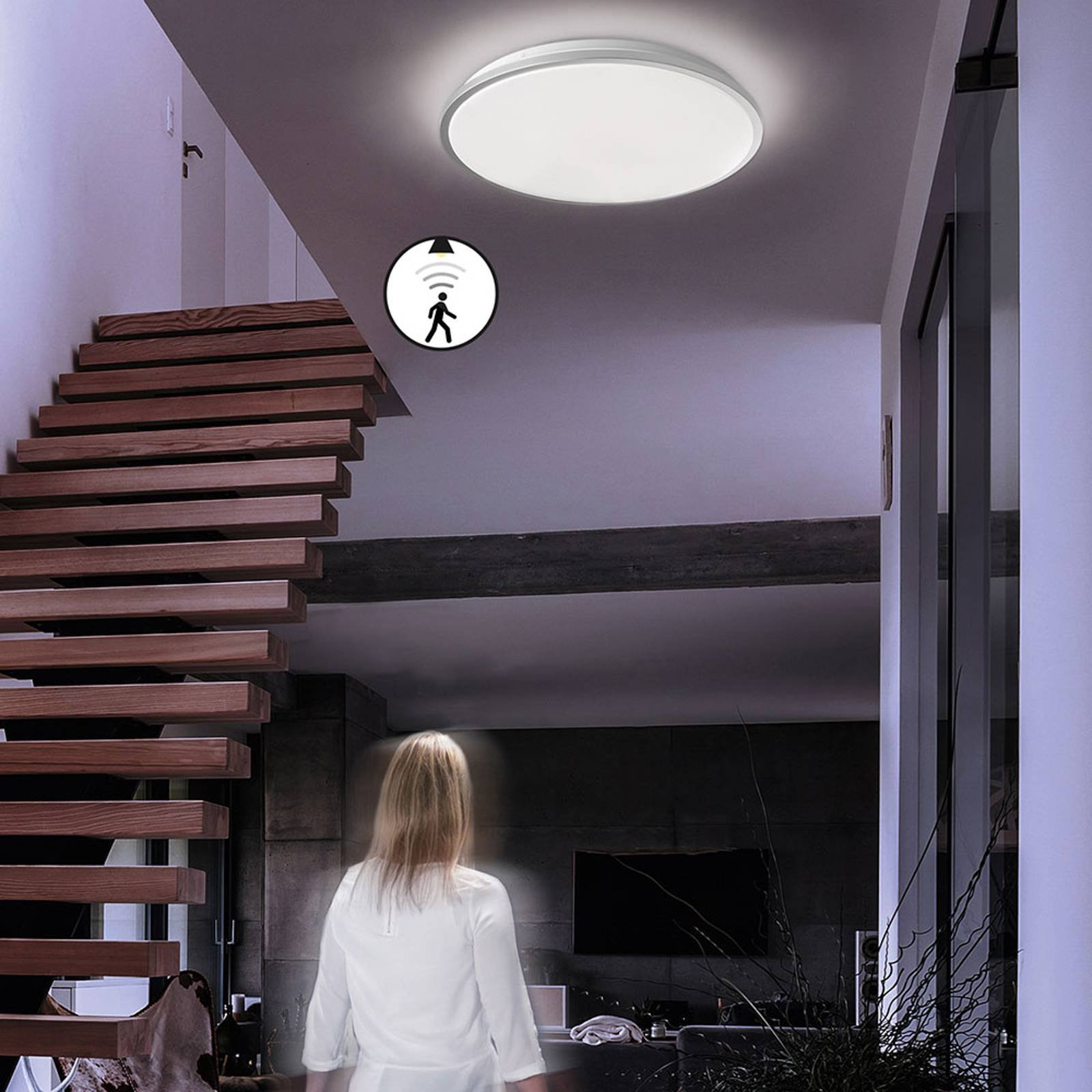 LED-taklampe Jaso BS, Ø 49 cm, sølv