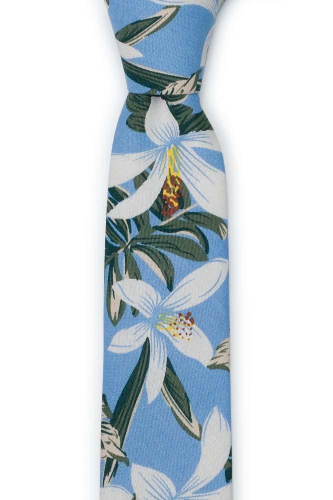 Bomull Smale Slips, Hvite og grønne Hawaii-blomster på lyseblått, Blå, Blomster