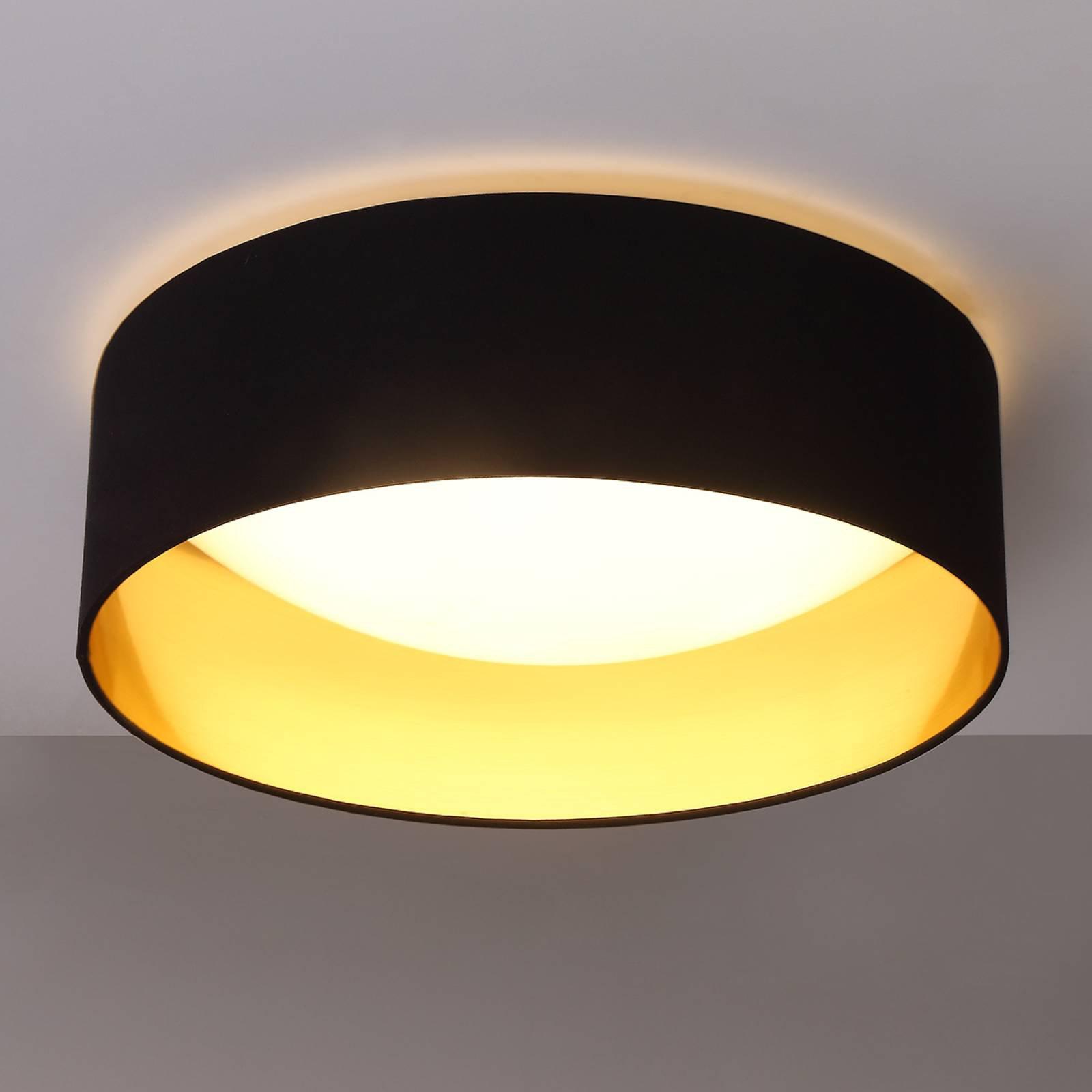 Stofftaklampe Coleen i svart, gyllen innside