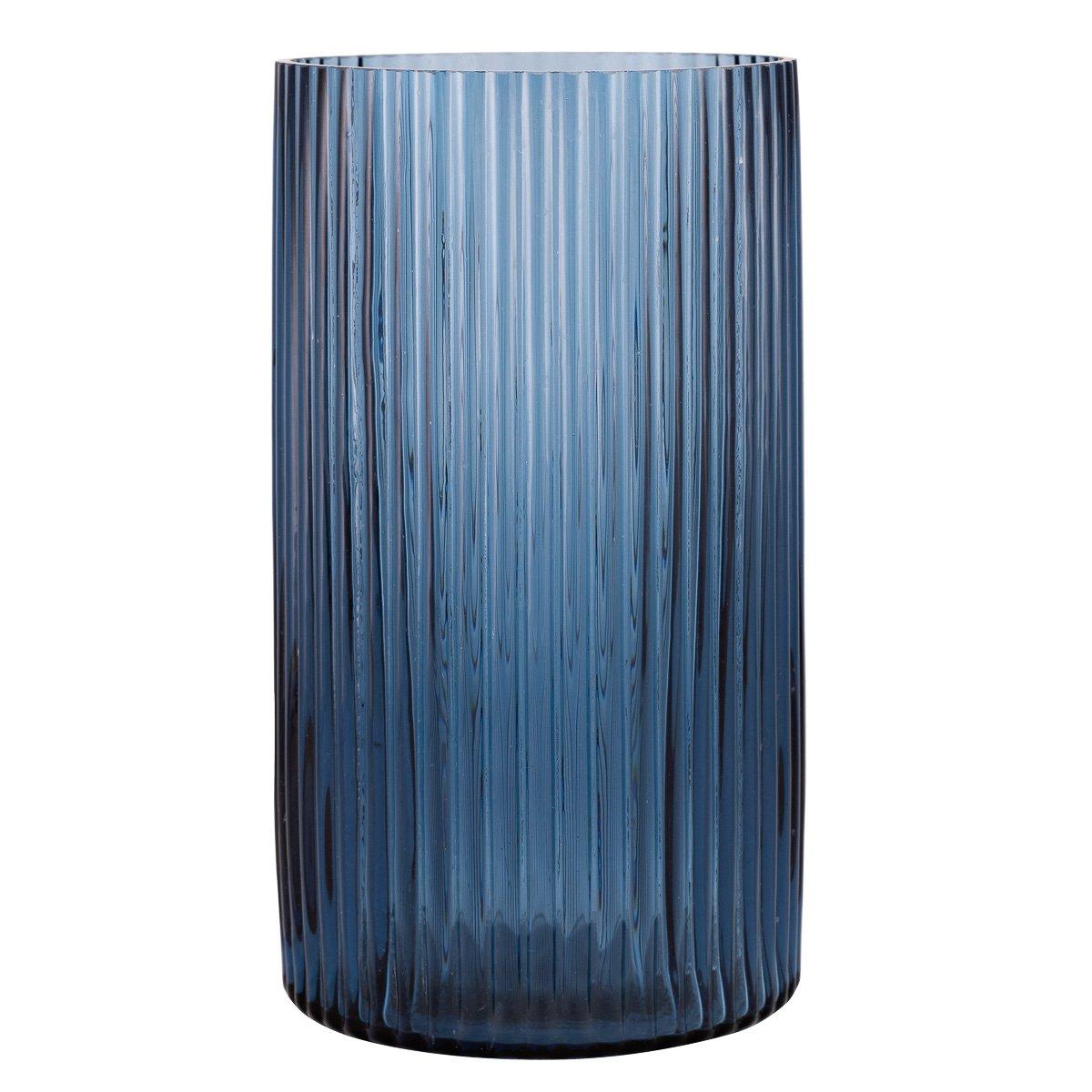 Vase/lykt Oda rille blå 25cm