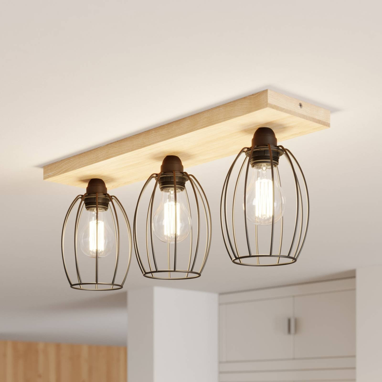 Taklampe Beevly, tre og metall, 3 lyskilder