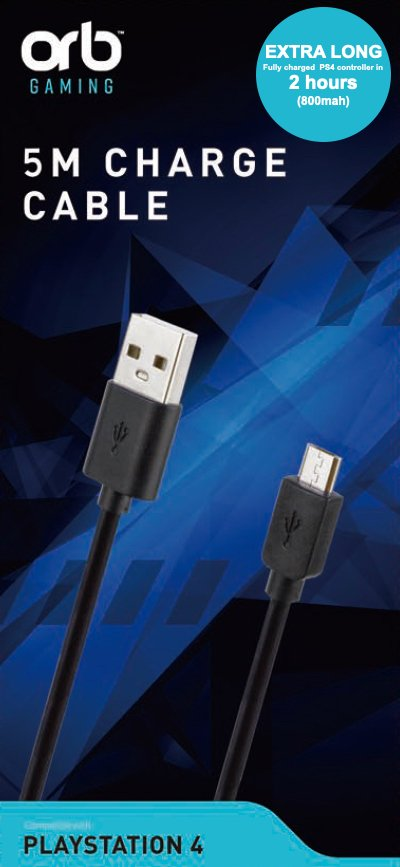 Playstation 4 Controller Charge Cable 5m (800mah)