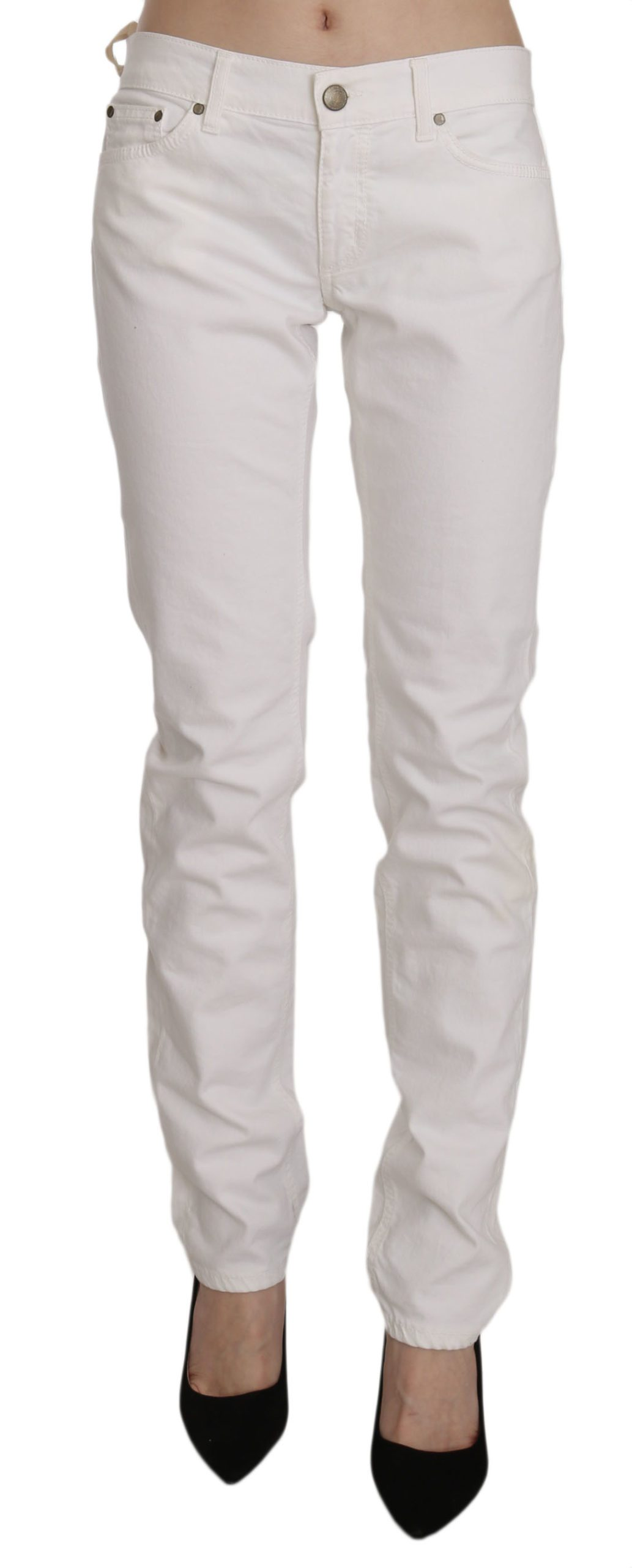 Dondup Women's Cotton Stretch Skinny Casual Denim Trouser White PAN70217 - W31