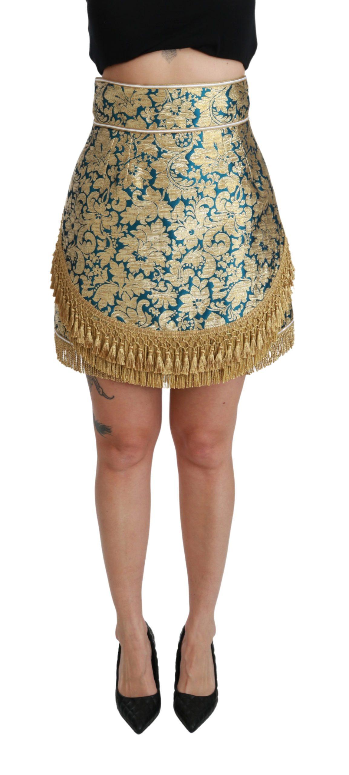 Dolce & Gabbana Women's High Waist Jacquard Tassel Skirt Gold SKI1425 - IT38|XS