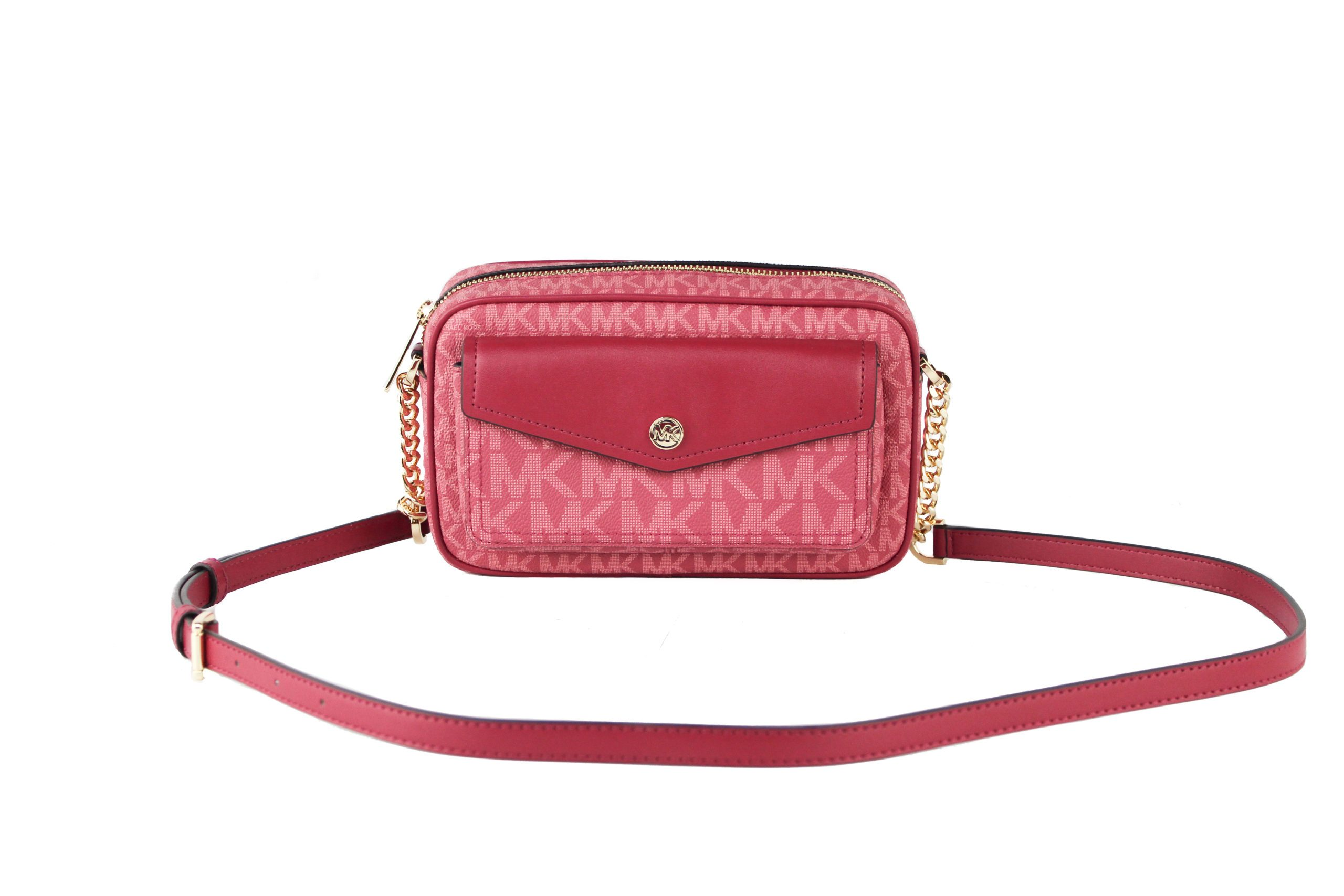Jet Set Travel Medium Signature PVC Pocket Camera Bag Crossbody Handbag (Berry Multi Signature)