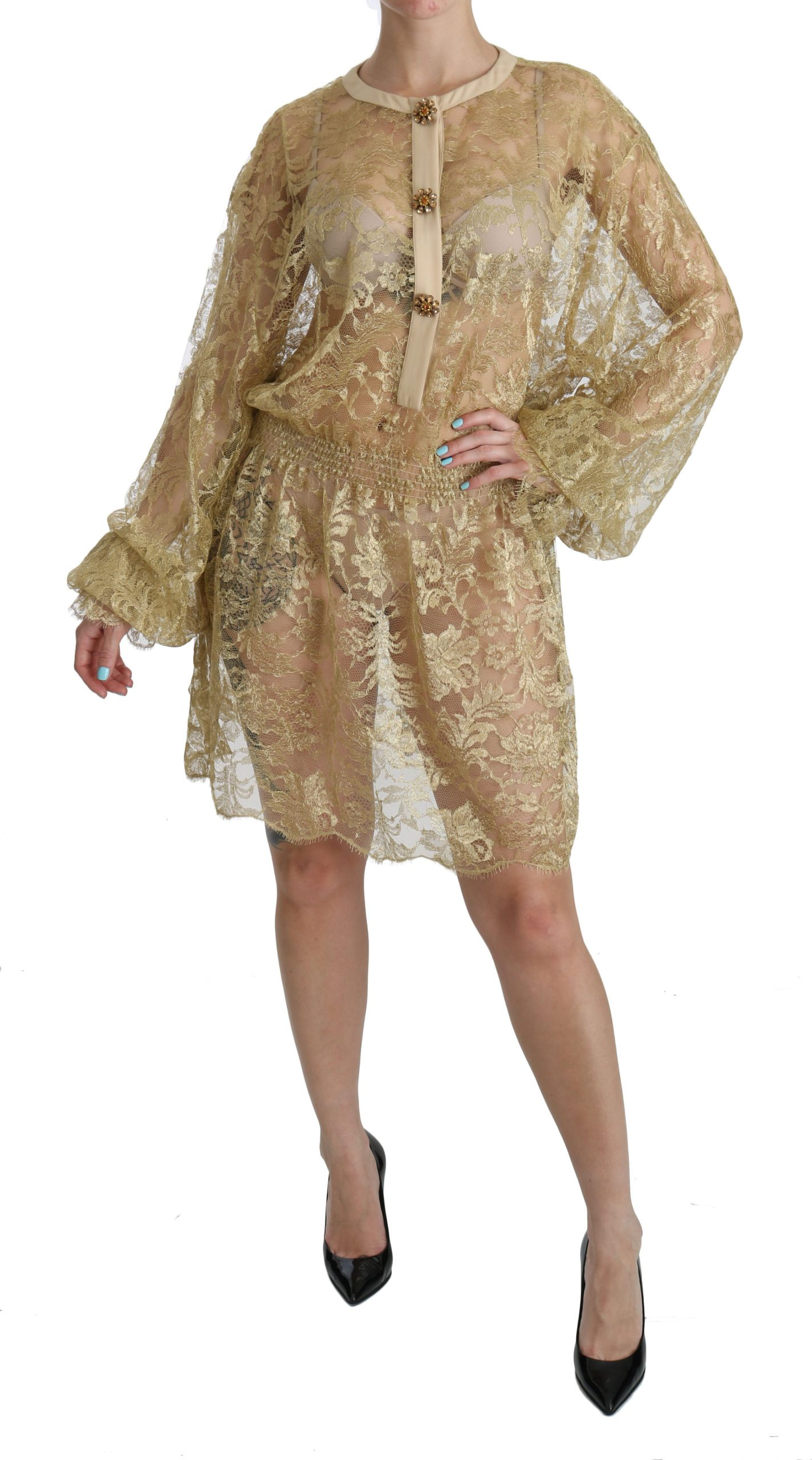 Dolce & Gabbana Women's Lace See Through A-Line Dress Gold Yellow DR2079 - IT40 S
