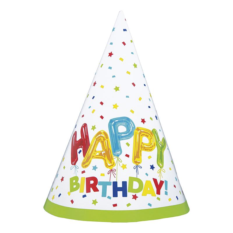 Partyhattar Happy Birthday Strössel - 8-pack