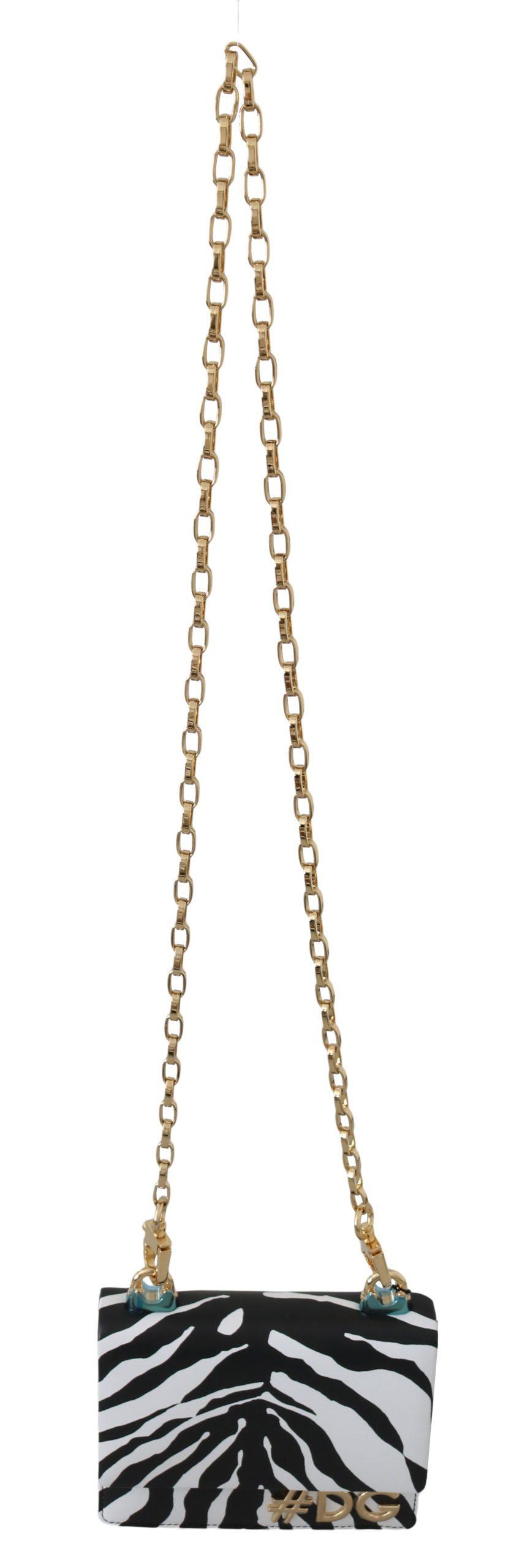 Dolce & Gabbana Women's Leather Zebra Crossbody Bag Black/White VA8622